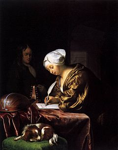 woman writing with quill
