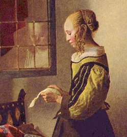 Vermeer painting of girl reading